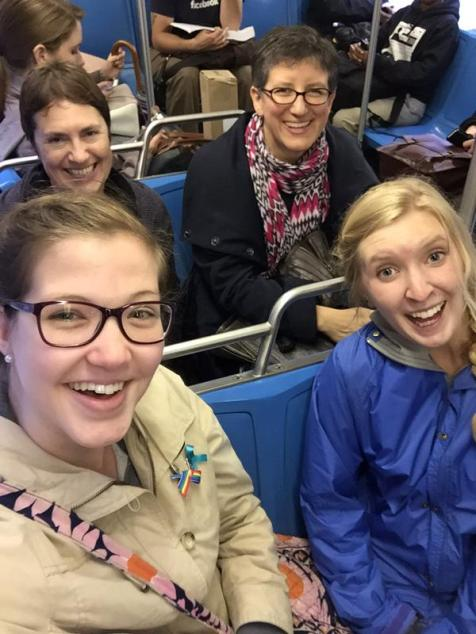 Genevieve Janvrin, Hannah Jacobsma, and Julia Randel (Hope College), along with their Houghton Library liaison Irina Kylagin, on the #2 bus, 2 June 2015. Photograph from Genevieve Janvrin.